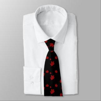 Lazo negro de la hoja de arce roja de la bandera corbata personalizada
