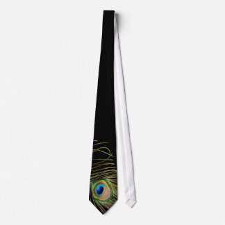 Lazo negro de la pluma del pavo real corbata