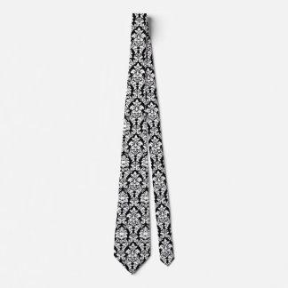 Lazo negro y blanco del damasco corbata personalizada