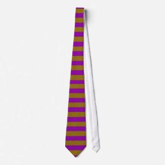 Lazo. Oro y rayas púrpuras. Horizontal amplio Corbata