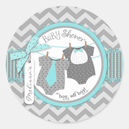 Lazo, pajarita y fiesta de bienvenida al bebé de l pegatina redonda