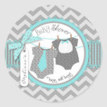 Lazo, pajarita y fiesta de bienvenida al bebé de pegatina redonda