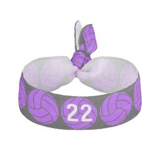 Lazo púrpura de encargo del pelo del voleibol elástico para el pelo