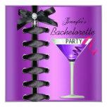 Lazo púrpura del cóctel del negro del fiesta de invitaciones personalizada