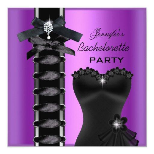 Lazo púrpura del corsé del diamante del negro del invitación 13,3 cm x 13,3cm