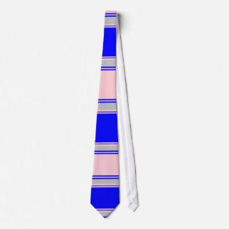 Lazo rayado horizontal rosado y de plata azul corbatas personalizadas
