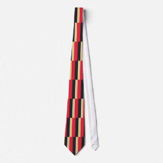 Lazo rojo de las pilas del oro blanco y del negro corbata personalizada
