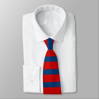 Lazo rojo y azul de la raya del rugbi corbatas personalizadas