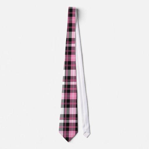 Lazo rosado de la tela escocesa corbata
