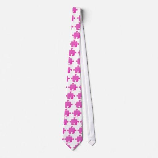 Lazo rosado del pedazo del rompecabezas corbata