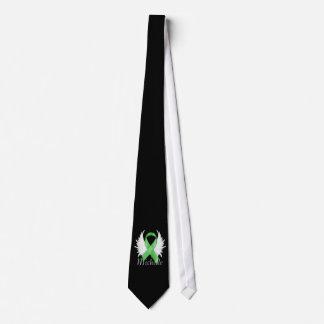 Lazo verde de las alas del ángel de la cinta corbata personalizada