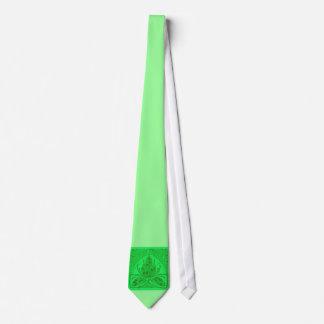 Lazo verde de neón de la hoja floral del vintage corbata