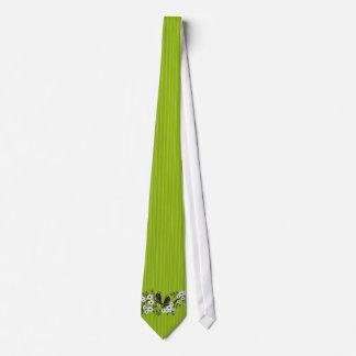 Lazo verde del boda de la margarita del pájaro del corbata personalizada