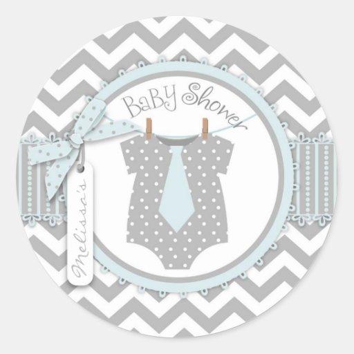 Lazo y fiesta de bienvenida al bebé azules de la i etiqueta redonda