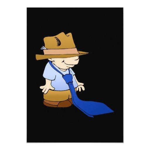 """Lazo y gorra grandes del niño pequeño invitación 5"""" x 7"""""""