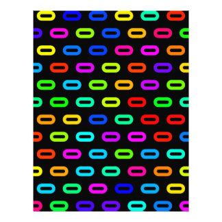 """Lazos coloreados neón del arco iris en negro folleto 8.5"""" x 11"""""""