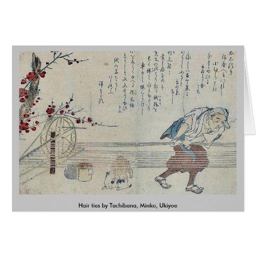 Lazos del pelo por Tachibana, Minko, Ukiyoe Tarjetón