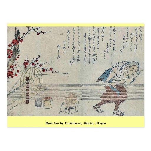 Lazos del pelo por Tachibana, Minko, Ukiyoe Tarjeta Postal