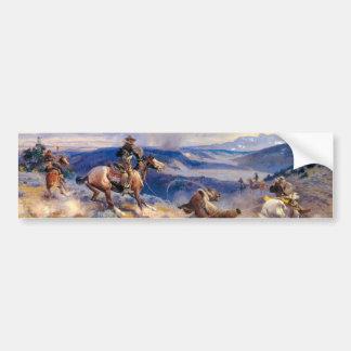 Lazos y Horses rápido (1916) de Charles M. Russell Pegatina De Parachoque