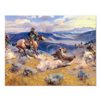 """Lazos y Horses rápido (1916) de Charles M. Russell Invitación 4.25"""" X 5.5"""""""