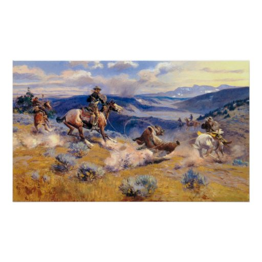 Lazos y Horses rápido (1916) de Charles M. Russell Póster
