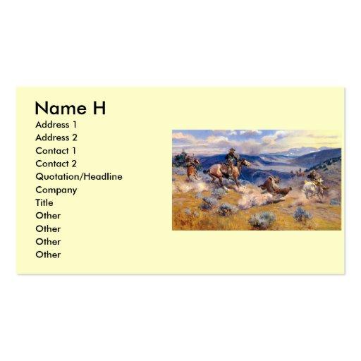 Lazos y Horses rápido (1916) de Charles M. Russell Plantillas De Tarjetas De Visita