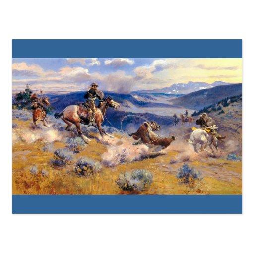 Lazos y Horses rápido (1916) de Charles M. Russell Postales