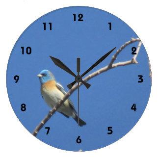 Lazuli Bunting Large Clock