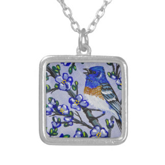 Lazuli Bunting Silver Plated Necklace