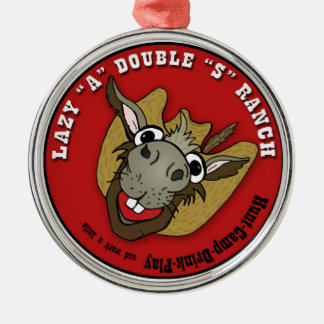 """LAZY """"A"""" DOUBLE """"S"""" RANCH METAL ORNAMENT"""
