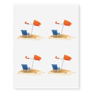 Lazy Beach Days Beach Scene 4 Temporary Tattoos