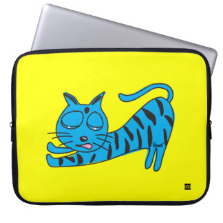 Lazy Blue Cat 15 Inch Laptop Sleeve