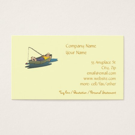Lazy Boat Day Fishing business card template