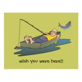 Lazy Boat Day Fishing postcard