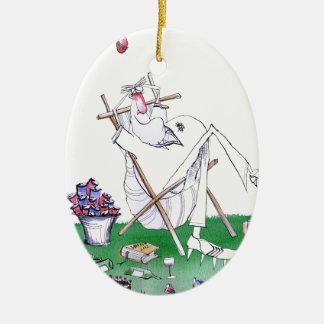 lazy bones - cricket , tony fernandes ceramic ornament