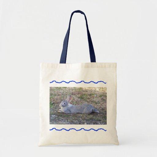 Lazy Bunny Blue Tote Bag