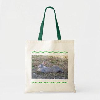 Lazy Bunny Green Tote Bag