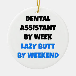 Lazy Butt Dental Assistant Double-Sided Ceramic Round Christmas Ornament