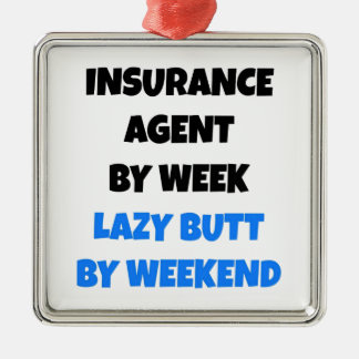 Lazy Butt Insurance Agent Square Metal Christmas Ornament