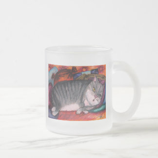 Lazy cat frosted glass coffee mug