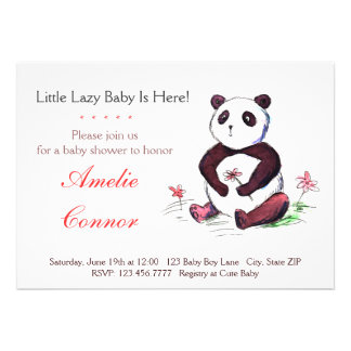 Lazy Chinese Panda Funny Baby Shower Invitation