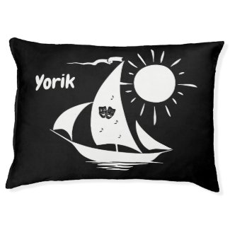 Lazy Day Sailing Sailboat Custom Dogs Name Pet Bed