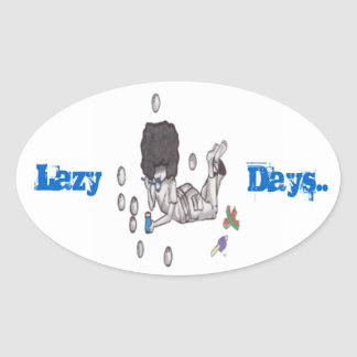 Lazy Days, Bubble Blowing Oval Sticker