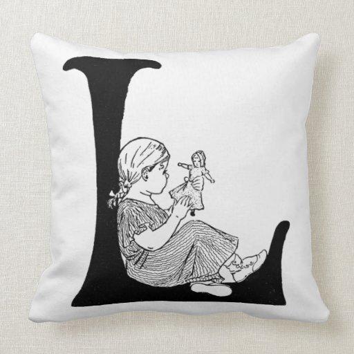 Throw Pillows Lagos : Lazy Days Letter L Monogram Throw Pillow Zazzle