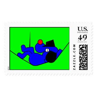 Lazy Dog - blue Postage Stamp