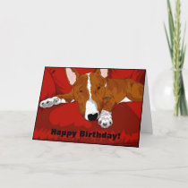 Lazy English Bull Terrier Dog Breed Illustration Card