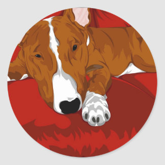 Lazy English Bull Terrier Dog Breed Illustration Classic Round Sticker