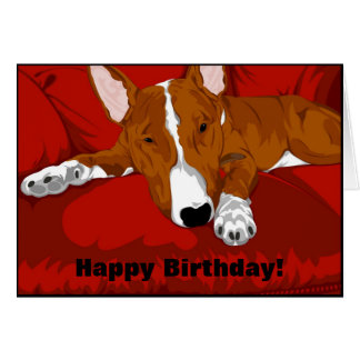 Lazy English Bull Terrier Dog Breed Illustration Greeting Card