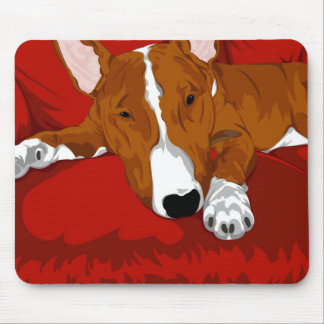 Lazy English Bull Terrier Dog Breed Illustration Mouse Pad