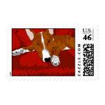 Lazy English Bull Terrier Dog Breed Illustration Stamp